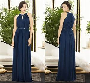 simple fashion halter a line chiffon navy blue bridesmaid With blue summer dresses for weddings