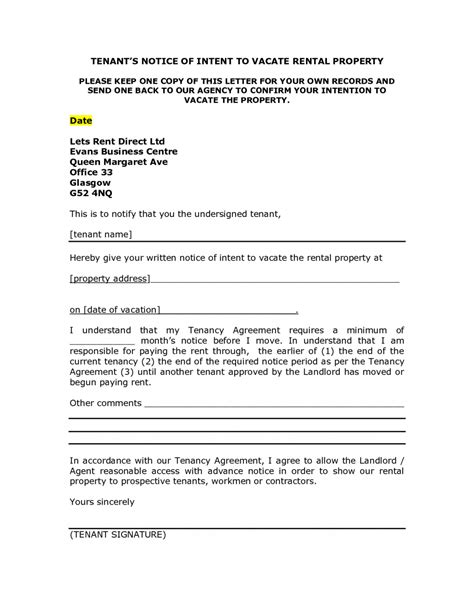 landlord notice letter  tenant template examples