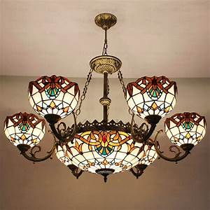 Decorative light stained glass shade tiffany style