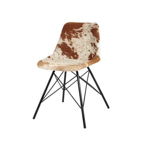 vintage stoel austerlitz cowhide and metal chair austerlitz maisons du monde