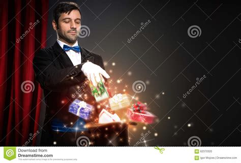 magician with magic christmas box stock photo image