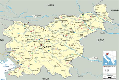 Rhythm And Alps Travel Map Directions And Location Detailed Political Map Of Slovenia Ezilon Maps