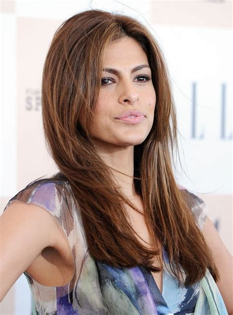 eva mendes easy long layered hairstyle for straight hair