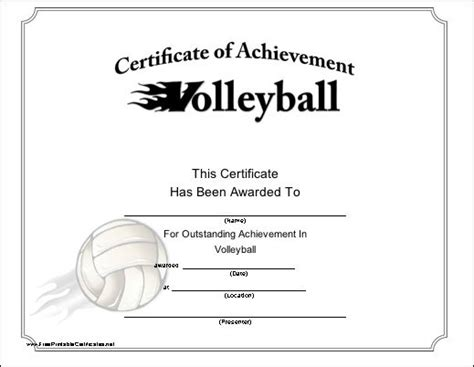 exciting certificate  achievement   volleyball