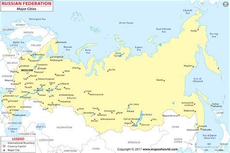 russia major cities wall map  maps  world