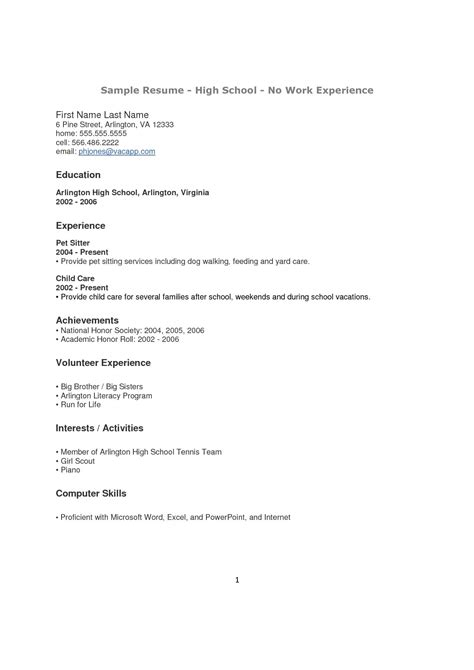 15058 exle of student resume with no work experience high school student resume with no work experience