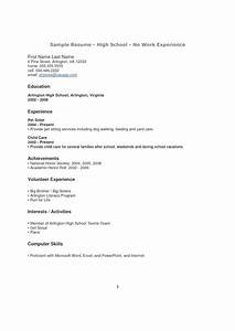 high school student resume with no work experience With sample student resume with no working experience