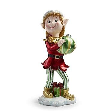 set of three pixie elves frontgate outdoor christmas decorations tree trimmer pixie with ornament 36 quot painted resin non lighted 299 00 at frontgate