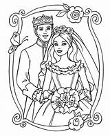 Coloring Couple Barbie Fancy Princess Printable Prince Print Sheet sketch template