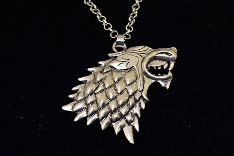 Wolf Stark Necklace Pendant Silver Color Jewelry Song Of