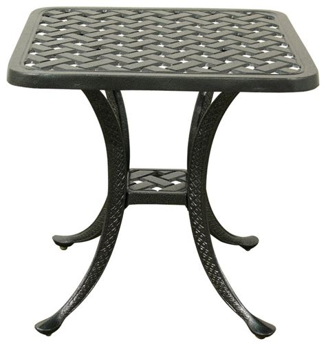 hauser trellis cast aluminum end table traditional