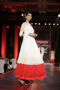 Manish malhotra white red border anarkali via ...