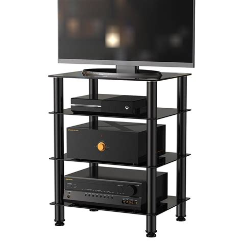 cabinet with tv rack fitueyes 4 tier tv media stand for audio cabinet apple tv