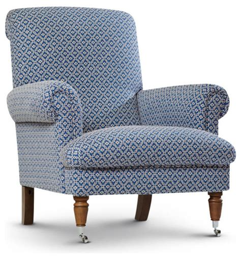 style blue patterned chair traditional