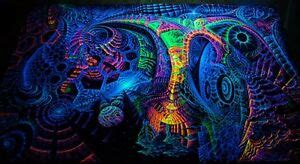 ultraviolet neon blacklight glow trippy psychedelic wall