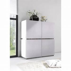 Buffet haut gris ou blanc 4 portes legos 2 blanc sans for Superior meuble chaussure et porte manteau 9 buffet haut gris ou blanc 4 portes legos 2 blanc sans
