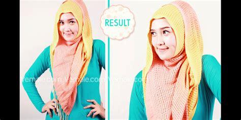 tutorial hijab pashmina rajut tetep cantik