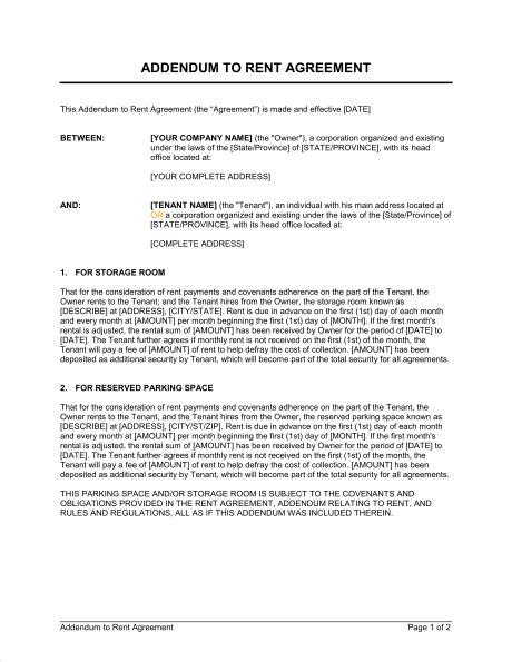 addendum template addendum to rent agreement template sle form biztree