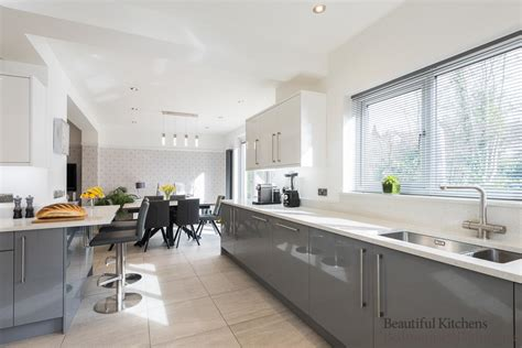 open plan grey white gloss kitchen diner beautiful