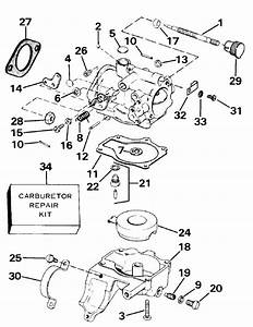 Evinrude Carburetor Parts For 1986 30hp E30rcdm Outboard Motor
