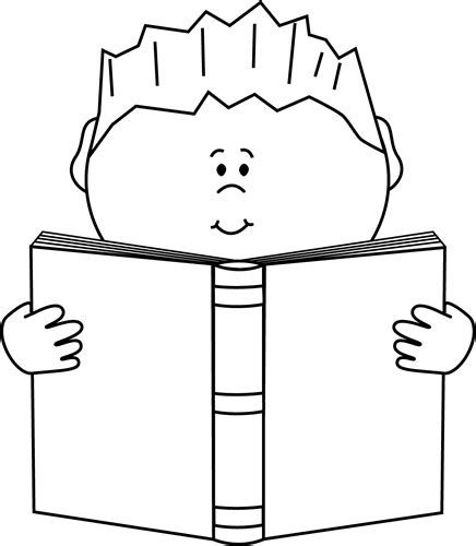 11892 student reading clipart black and white reading a book clip image black and white
