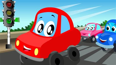 red car lets drive  kids car video carstoon