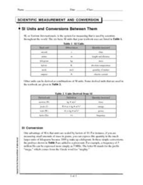 Si Units And Conversions Between Them 9th  12th Grade Worksheet  Lesson Planet
