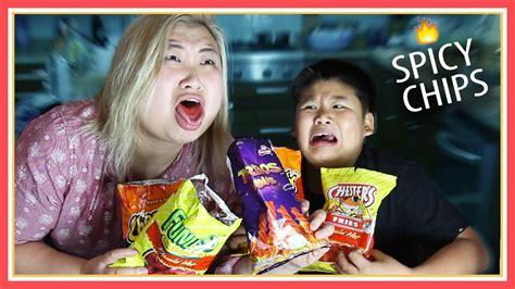 tasting flamin hot chips challenge ft crew