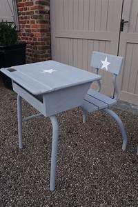 Bureau écolier Vintage : ancien pupitre bureau colier vintage gris toile blanche customisation meubles ~ Nature-et-papiers.com Idées de Décoration