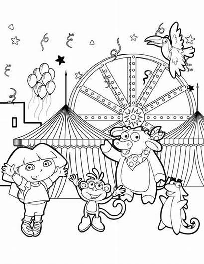 Dora Coloring Friends Pages Drawing Park Amusement