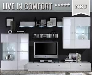 Moderne Wohnwand Hochglanz : top moderne wohnwand 6 tlg hochglanz wei montiert anbauwand vitrine lowboard ebay ~ Sanjose-hotels-ca.com Haus und Dekorationen