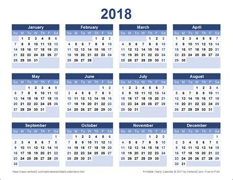 excel 2018 yearly calendar 2018 calendar calendar template excel