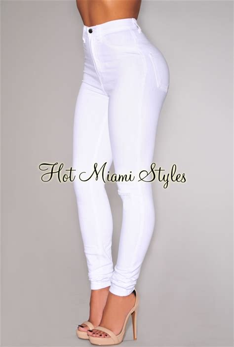 White Denim HighWaist One Rip Skinny Jeans
