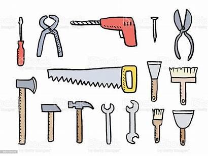 Tools Cartoon Vector Illustration Hardware Works Diy