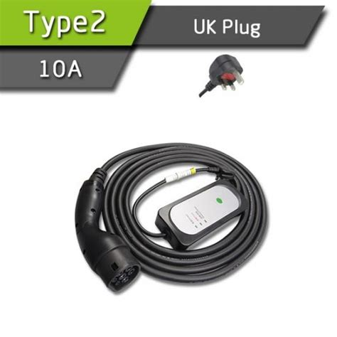 Type2 10a Portable Ev Charging Box Uk Plug For Home