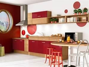 Cuisine rouge et bois for Cuisine rouge et bois