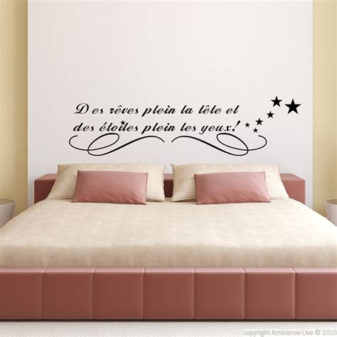 sticker citation chambre stickers muraux citations sticker des rêves plein la