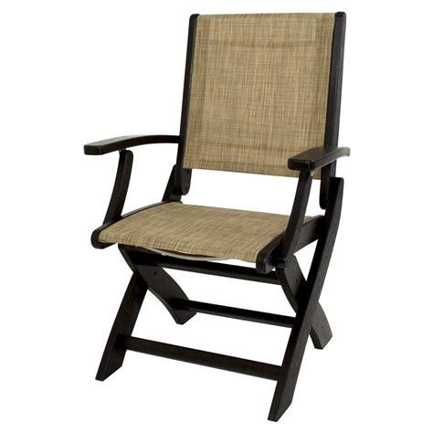polywood black burlap sling coastal patio folding chair