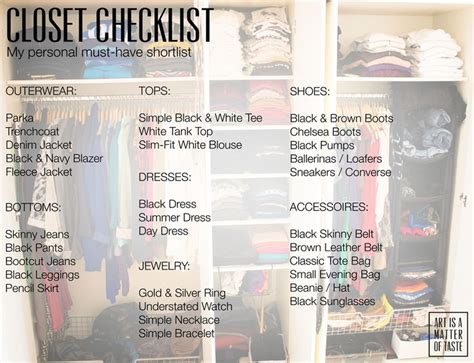 Must Haves In Your Closet by Closet Checklist Must Haves Fashion Wardrobe Dressing