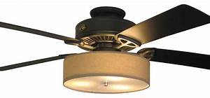Linen drum shade light kit for ceiling fans cognac