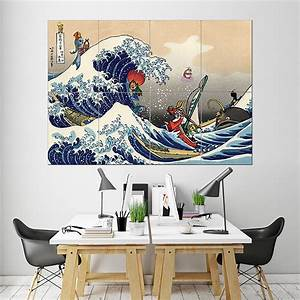 great wave on the great sea zelda block giant wall art poster With awesome zelda wall decals ideas