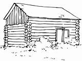 Cabin Drawing Coloring Clipart Sheet Template Cabins Printable Woods Child Pioneer Sketch Hut Scenes Templates Clip sketch template