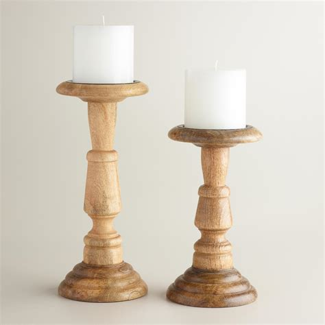 natural wood connor pillar candleholder world market