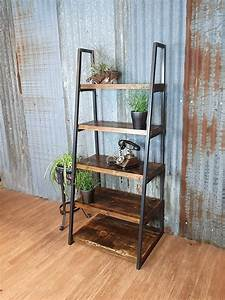Industrial, Free, Standing, Ladder, Shelving, Unit, Lean, To, Bespoke, Shelving, Units, Freestanding, Wood