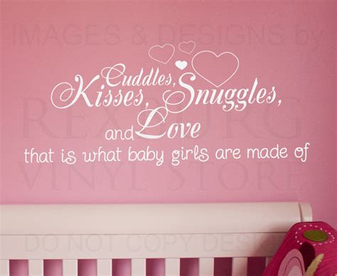 wall decal quote sticker cuddle kisses snuggles  love
