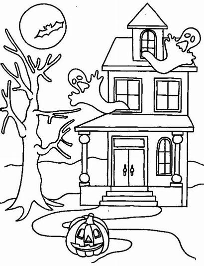 Coloring Haunted Halloween Pages Printable Scary Drawing