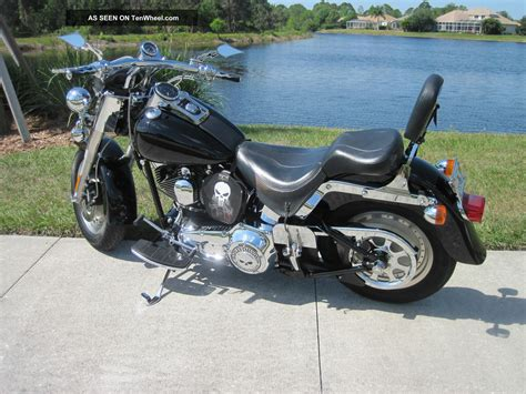 Black 2001 Harley Davidson, Fatboy, Flstf, Cruiser, Street