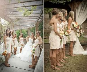 Rustic wedding with bridesmaids in cowboy boots rustic for Wedding dress and boots