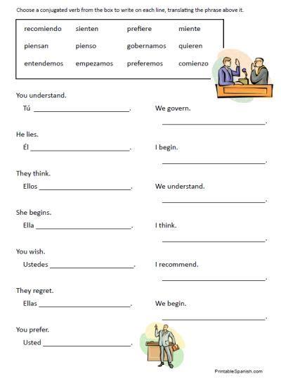 stem changing verbs worksheet realidades 1 6a b