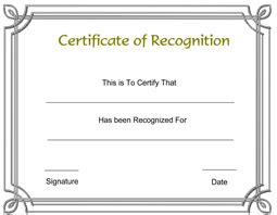 recognition certificate  printable templates